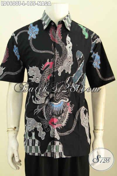 Batik Hem Lengan Pendek Motif Naga, Kemeja Batik Solo Jawa Tengah Proses Tulis Pas Untuk Jalan-Jalan [LD9600T-L]