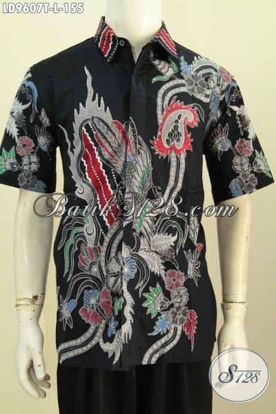 Busana Batik Jawa Keren, Hem Batik Modis Halus, Pakaian Batik Lengan Pendek Modern Bahan Adem Kwalitas Istimewa Harga Biasa [LD9607T-L]