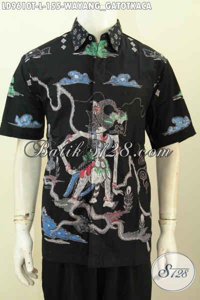 Baju Batik Pria Distro, Hem Lengan Pendek Motif Wayang Gatotkaca Proses Tulis Hanya 155K [LD9610T-L]