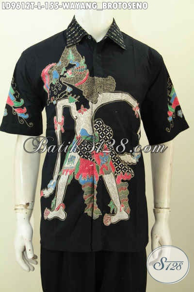 Baju Batik Pria Gaul Lengan Pendek, Pakaian Batik Solo Halus Motid Wayang Brotoseno Bahan Adem, Modis Dan Nyaman Di Pakai Hanya 155K [LD9612T-L]