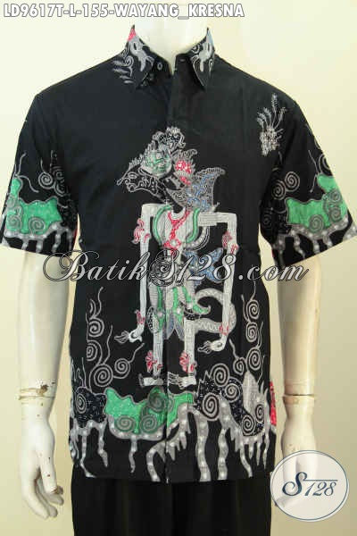 Jual Online Baju Batik Lengan Pendek Keren, Busana Batik Solo Terbaru Motif Wayang Kresna Proses Tulis Harga 155 Ribu [LD9617T-L]