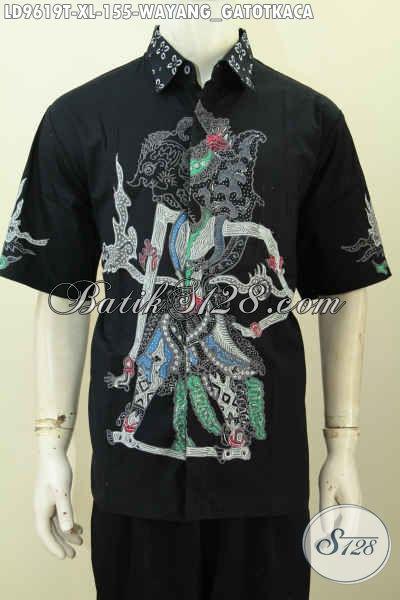 Jual Online Baju Tulis Pria Dewasa Ukuran XL, Hem Batik Lengan Pendek Istimewa Motif Wayang Gatotkaca, Penampilan Terlihat Macho [LD9619T-XL]