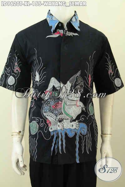 Toko Busana Batik Online Pilihan Komplit, Sedia Kemeja Lengan Pendek Pria Dewasa Size XL Motif Wayang Semar Proses Tulis Hanya 155K [LD9620T-XL]