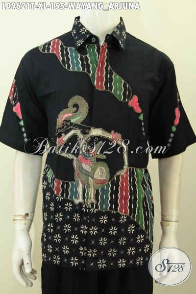 Hem Batik Wayang Arjuna, Pakaian Batik Pria Dewasa Yang kekinian Model Lengan Pendek Bahan Adem Proses Tulis Hanya 155K [LD9621T-XL]
