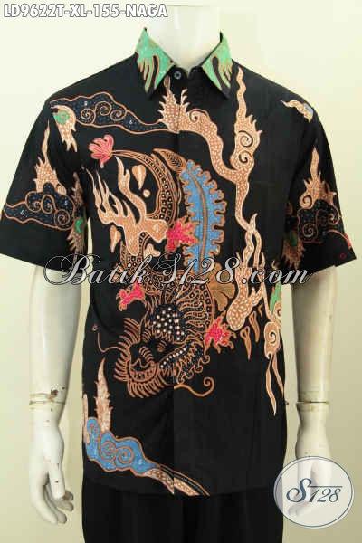 Baju Batik Wayang Motif Naga, Pakaian Batik Pria Untuk Penampilan Keren Mempesona Proses Tulis Bahan Halus 100 Ribuan [LD9622T-XL]