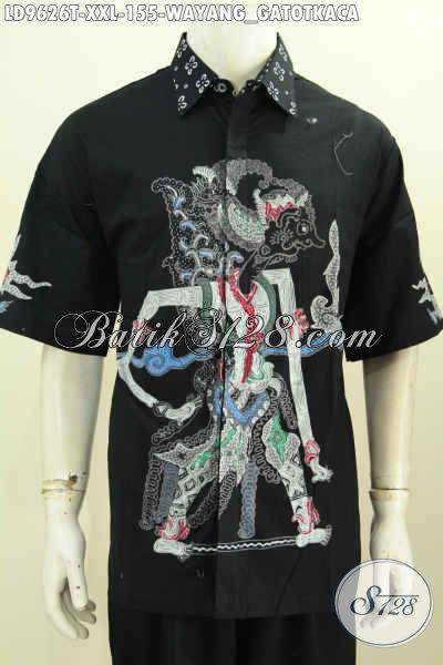 Batik Kemeja Solo Lengan Pendek Istimewa Motif Wayang Gatotkaca, Hem Batik Big Size Spesial Untuk Pria Gemuk Proses Tulis Harga 155K [LD9626T-XXL]