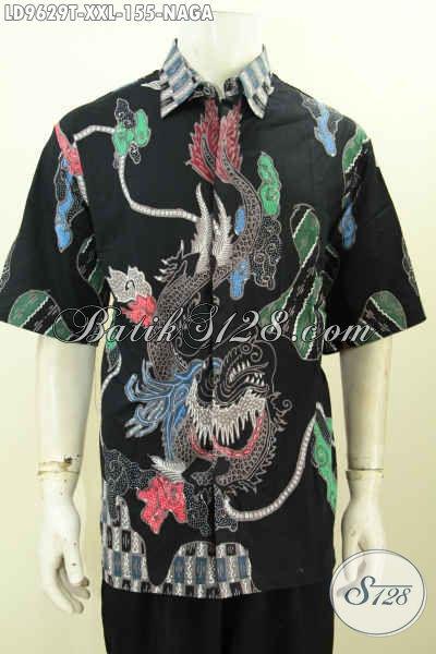 Baju Batik Motif Naga, Kemeja Batik Solo Modern Lengan Pendek Size XXL Proses Tulis, Pria Gemuk Tampil Macho [LD9629T-XXL]