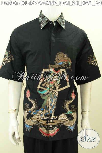 Batik Hem Big Size, Kemeja Batik Solo Halus Lengan Pendek Modern Nan Modis Proses Tulis Motif Wayang Dewi Sri Harga 155K [LD9630T-XXL]