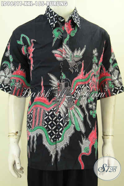 Hem Batik Solo Modis, Kemeja Batik Keren Lengan Pendek Motif Burung Big Size Bahan Halus Proses Tulis, Exclusive Untuk Pria Gemuk [LD9631T-XXL]