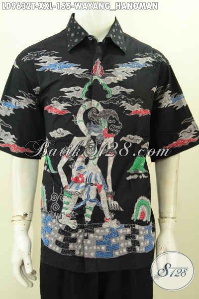 Baju Batik Solo Istimewa, Pakaian Batik Lengan Pendek Berkelas Ukuran Jumbo Motif Wayang Hanoman, Cocok Untuk Kerja Dan Hangout Pria Badan Gemuk [LD9632T-XXL]