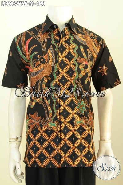 Batik Hem Pria Lengan Pendek, Kemeja Batik Jawa Tengah Full Furing Motif Bagus Tulis Soga Harga 490K, Size M