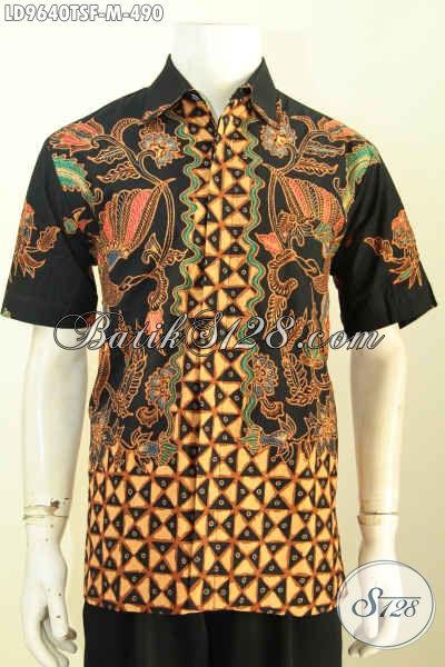 Hem Batik Klasik Lengan Pendek, Baju Batik Premium Solo Proses Tulis Soga Daleman Pake Furing, Penampilan Gagah Dan Mewah [LD9640TSF-M]