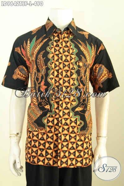 Kemeja Batik Premium, Hem Batik Solo Mewah Lengan Pendek Proses Tulis Soga Bahan Adem Lenga Pendek Full Furing, Penampilan Gagah Dan Tampan [LD9642TSF-L]