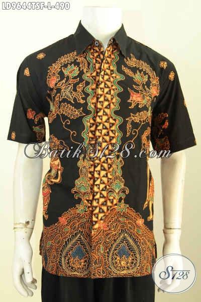 Baju Batik Klasik Mewah Lengan Pendek, Pakaian Batik Desain Terbaru Bahan Adem Proses Tulis Soga Nan Istimewa Harga 490 Ribu, Size L