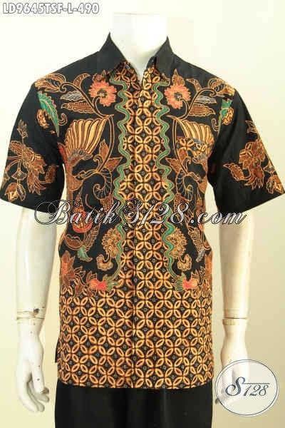 Jual Online Kemeja Batik Solo Lengan Pendek Mewah, Pakaian Kerja Premium Full Furing Motif Tulis Soga, Penampilan Makin Sempurna, Size L