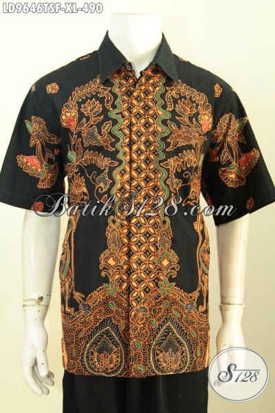 Jual Kemeja Batik Solo Premium Size XL, Hem Lengan Pendek Halus Motif Klasik Khas Solo Proses Tulis Soga Harga DI Bawah 500 Ribu