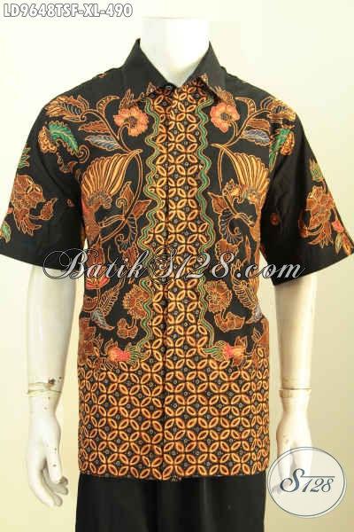 Kemeja Batik ELegan Berkelas Untuk Lelaki Dewasa, Baju Batik Tulis Soga Modern Klasik Lengan Pendek Full Furing Hanya 490K, Size XL
