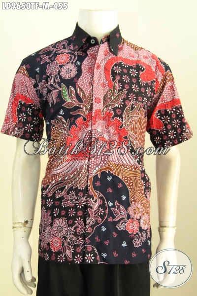 Batik Hem Halus Lengan Pendek Premium, Kemeja Batik Jawa Istimewa Bahan Adem Proses Tulis Daleman Full Furing, Penampilan Lebih Sempurna, Size M