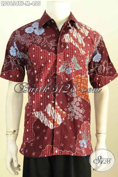 Batik Hem Merah Motif Bagus Proses Tulis, Baju Kemeja Batik Lengan Pendek Full Furing, Pas Untuk Kerja Dan Acara Resmi, Size M