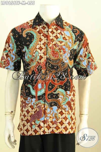 Hem Batik Pria Mewah, Baju Batik Solo Elegan Proses Tulis Model Lengan Pendek Pakai Furing, Cocok Buat Acara Resmi Dan Kerja, Size M