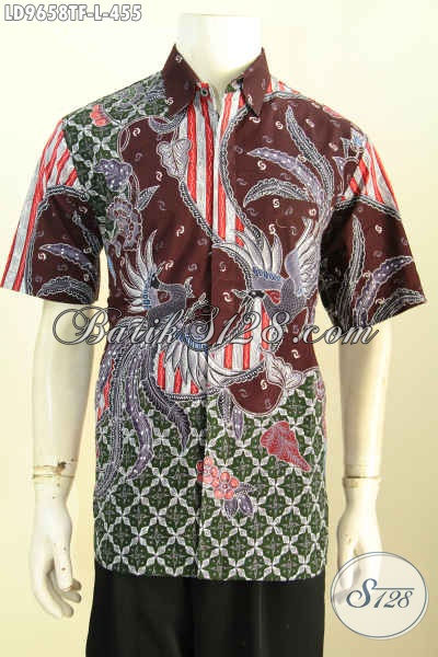 Butik Baju Batik Pria Online, Sedia Kemeja Lengan Pendek Mewah Halus Proses Tulis, Pakaian Batik Istimewa Daleman Pake Furing, Penampilan Lebih Mempesona [LD9658TF-L]