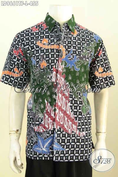 Jual Online Baju Batik Fashion Pria Model Lengan Pendek, Hem Batik Premium Full Furing Kwalitas Istimewa Motif Tulis Asli Hanya 400 Ribuan [LD9661TF-L]