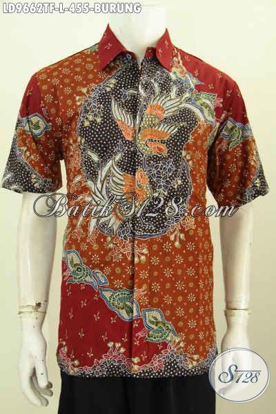 Kemeja Batik Premium Lengan Pendek Proses Tulis Bahan Halus Daleman Full Furing, Batik Solo Keren Pria Tampil Macho, Size L