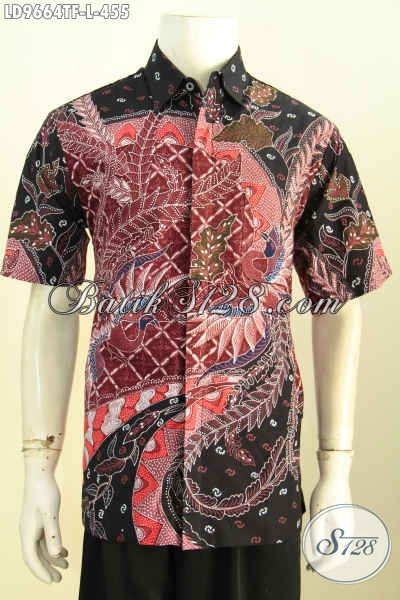 Hem Batik Tulis Elegan Lengan Pendek, Kemeja Batik Solo Halus Full Furing Bahan Adem Motif Bagus Harga 400 Ribuan, Size L