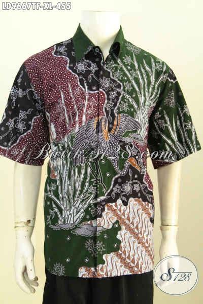 Kemeja Lengan Pendek Istimewa Untuk Pria Dewasa, Pakaian Batik Halus Berkelas Proses Tulis Desain Kekinian Pakai Furing, Bikin Penampilan Ganteng Dan Keren [LD9667TF-XL]