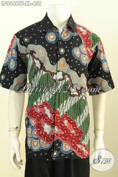 Sedia Batik Hem Pria Istimewa, Pakaian Batik Seragam Kerja Modis Dan Berkelas Proses Tulis Motif Bagus Pake Furing 455K, Size XL