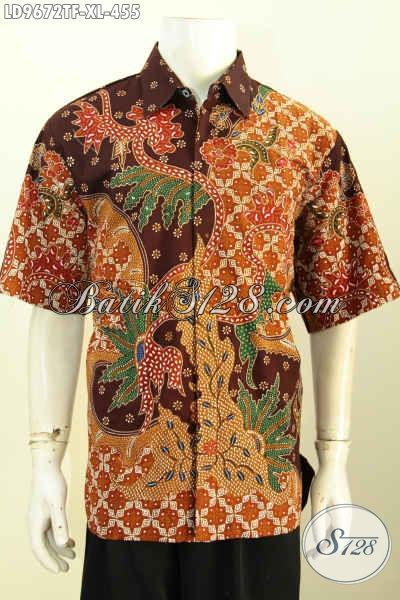 Hem Batik Fashion Modis Dan Berkelas, Produk Baju Batik Lengan Pendek Full Furing Motif Tulis Asli, Pilihan Tepat Untuk Tampil Sempurna [LD9672TF-XL]