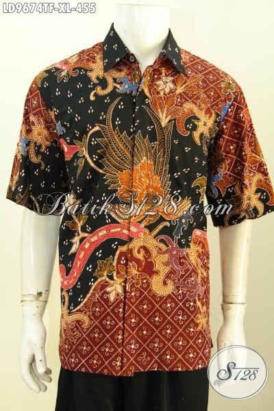 Model Baju Batik Atasan Pria 2017, Hadir Lebih Keren Berpadu Motif Trendy Proses Tulis Lengan Pendek Full Furing, Tampil Terlihat Berwibawa [LD9674TF-XL]