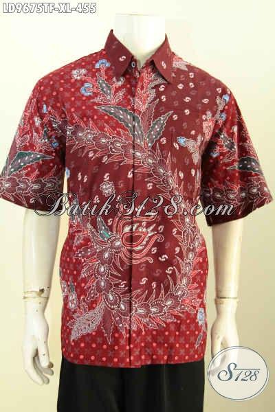 Batik Hem Mewah Warna Merah Lengan Pendek Motif Trendy Proses Tulis, Kemeja Full Furing Buatan Solo Yang Membuat Pria Tampil Mempesona [LD9675TF-XL]