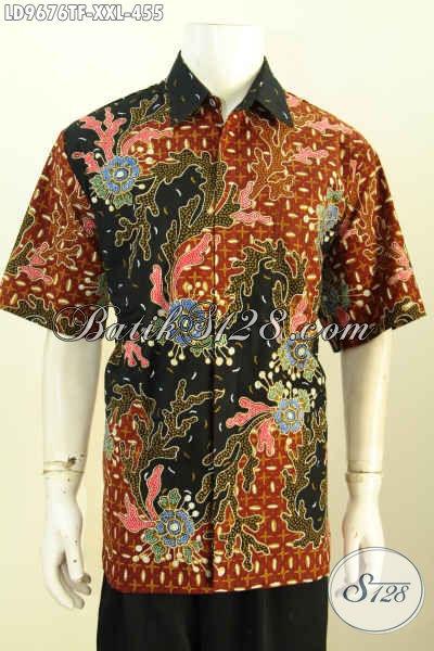 Hem Batik Lengan Pendek Big Size, Baju Batik Solo Halus Full Furing Motif Bagus Tulis Asli, Pria Gemuk Tampil Gagah, Size XXL