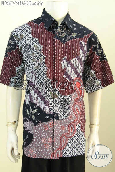 Jual Online Baju Batik Exclusive Pria Gemuk, Hem Batik Big Size 3L Bahan Adem Motif Bagus Tulis Asli Hanya 400 Ribuan, Lengan Pendek Pake Furing [LD9677TF-XXL]