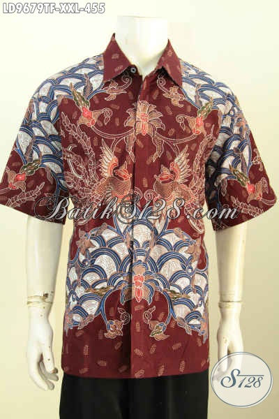 Produk Hem Batik Mewah Lengan Pendek, Pakaian Batik Eksklusif Pria Gemuk 3L Daleman Full Furing Motif Tulis Asli Harga 455K, Size XXL