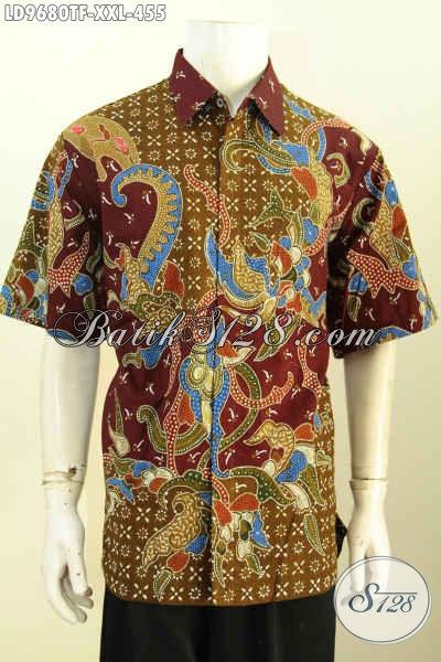 Hem Batik Pria Lengan Pendek Full Furing, Busana Batik Big Size Motif Mewah Proses Tulis Yang Bikin Pria Gemuk Tampil Gagah Dan Bergaya [LD9680TF-XXL]