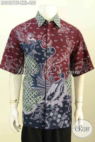 Pusat Belanja Baju Batik Big Size Online, Sedia Kemeja Mewah Full Furing Batik Tulis Lengan Pendek Berkelas, Cocok Untuk Seragam Kerja Dan Acara Resmi [LD9681TF-XXL]