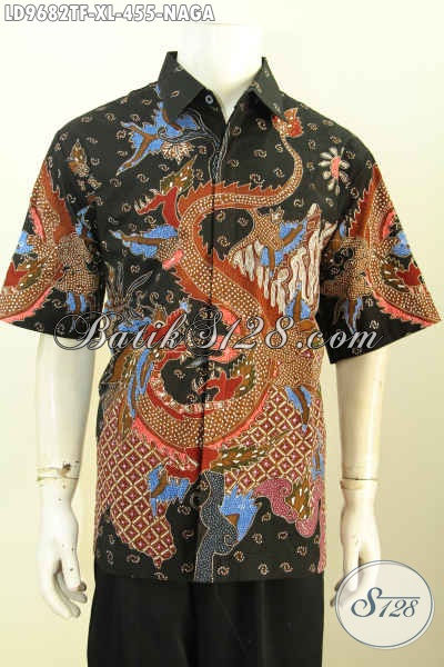 Hem Batik Tulis Lengan Pendek Motif Naga, Pakaian Batik Full Furing Halus Bahan Adem Kwalitas Istimewa Hanya 455K [LD9682TF-XL]