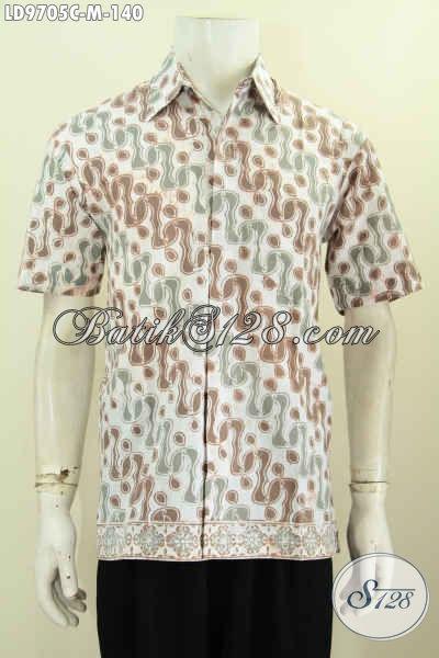 Batik Hem Modis Motif Klasik Desain Modern, Baju Batik Cap Buatan Solo, Keren Untuk Hangout, Size M