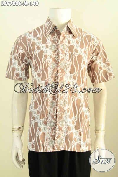 Baju Batik Casual Untuk Pria Muda, Kemeja Batik Yang Bikin Penampilan Lebih Modis Dan Keren, Bahan Halus Proses Cap Harga 100 Ribuan [LD9708C-M]