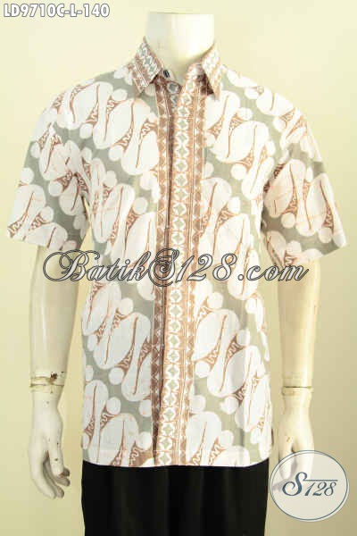 Batik Kemeja Lengan Pendek Size L, Busana Batik Solo Halus Proses Cap Motif Klasik Bahan Adem Nyaman Di Pakai