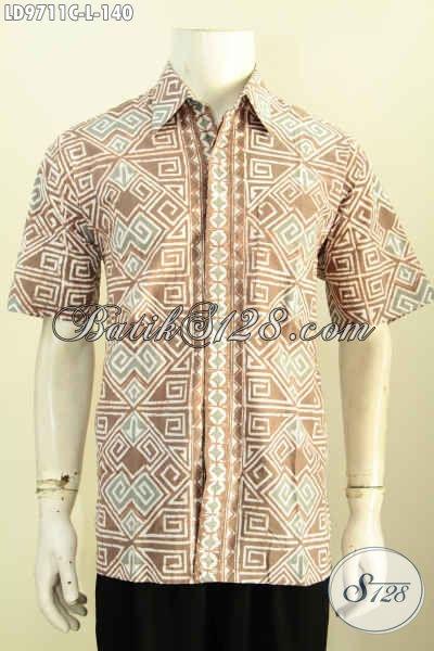 Sedia Baju Batik Kerja Pria, Hem Lengan Pendek Motif Bagus Trend Masa Kini Proses Cap Yang Bikin Penampilan Lebih Tampan Maksimal [LD9711C-L]