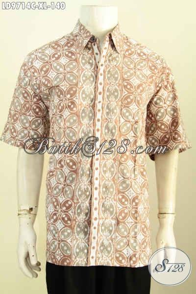 Toko Pakaian Batik Jawa Online Pilihan Komplit, Sedia Kemeja Lengan Pendek Modis Motif Berkelas Kwalitas Istimewa, Tampil Gagah Mempesona [LD9714C-XL]
