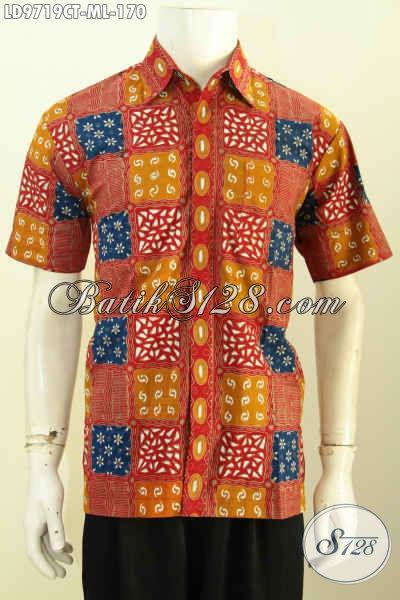 Batik Hem Gaul Pria Muda Dan Dewasa, Kemeja Batik Modis Proses Cap Tulis Bahan Adem Nyaman Di Pakai, Size M – L