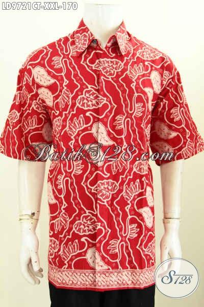 Hem Batik Cap Tulis Warna Merah, Baju Batik Solo Elegan Lengan Pendek Motif Unik, Pas Untuk Buat Jalan-Jalan, Spesial Untuk Pria Gemuk [LD9721CT-XXL]