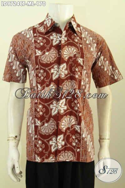 Hem Batik Kerja Pria Motif Kombinasi, Kemeja Batik Modis Halus Desain Keren Proses Cap Tulis, Tampil Gaul Dan Elegan [LD9724CT-M , L]