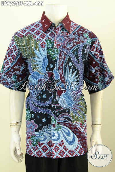 Baju Batik Tulis Pria Gemuk, Busana Batik Elegan Motif Mewah Tulis Asli Model Lengan Pendek Full Furing 400 Ribuan, Size XXL