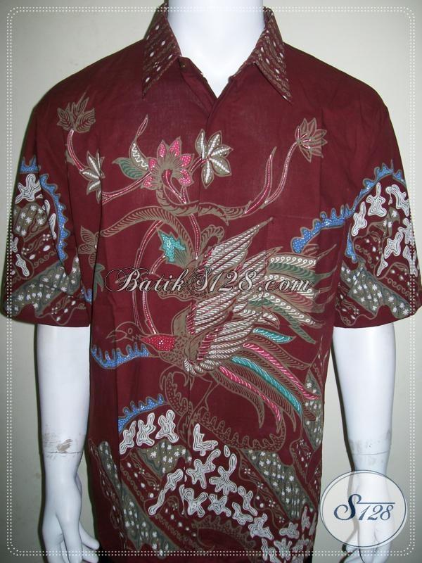 Koleksi Batik Tulis Pria Warna Merah Motif Burung Cendrawasih [LD974T-XL]