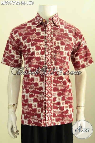 Busana Batik Keren Warna Merah, Pakaian Batik Modern Terbaru Bahan Halus Motif Klasik Proses Cap Warna Alam Hanya 160 Ribu Saja [LD9777CA-M]